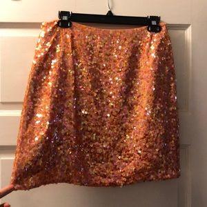DKNY Orange sequin mini skirt